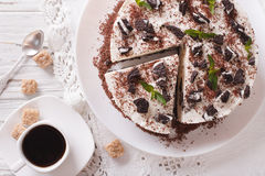 Free Cheesecake Dessert With Chocolate And Coffee On A Table Close-up Royalty Free Stock Images - 73505449