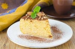 Cheesecake dyniowy zbliżenie kawałek Zdjęcie Stock
