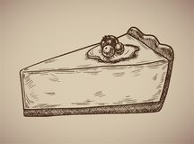 Cheesecake engraving. Delicious cheesecake in sketch style. Vector illustration. EPS 10 Royalty Free Stock Photography