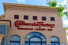 The Cheesecake Factory at Washington Square, Shopping mall in Portland. Portland, Oregon - May 21, 2018 : The Cheesecake Factory at Washington Square, Shopping stock image