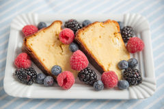Cheesecake with fresh berries Stock Images