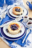 Cheesecake with fresh blueberries Royalty Free Stock Photo