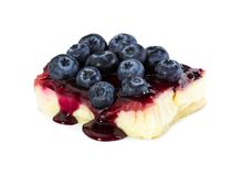 Cheesecake with fresh blueberries and jam Stock Images