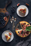 Cheesecake and fresh fruits stock photo