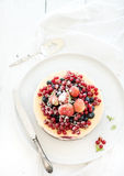 Cheesecake with fresh garden berries on top over Stock Photos