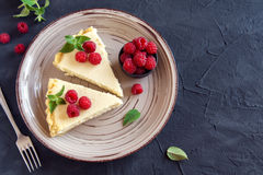 Cheesecake with fresh raspberries Stock Photo