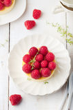 Cheesecake with fresh raspberries on a white plate. Dessert. Cheesecake with fresh raspberries on a white plate Royalty Free Stock Photo