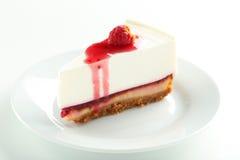 Cheesecake. Fresh raspberry cheesecake on white plate Stock Photo