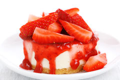 Cheesecake with fresh strawberry Stock Photos