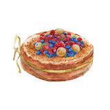 Cheesecake with fruit. Cake. . watercolor. Sweet baked cheesecake with fruit. . watercolor Stock Photos