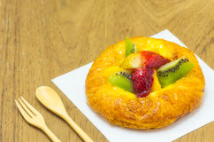 Cheesecake with Fruits. Royalty Free Stock Images