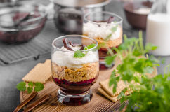 Cheesecake in glass. With chocolate and mascarpone Royalty Free Stock Photography