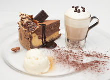 Cheesecake with ice-cream and hot cacao Stock Photography