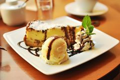 Cheesecake with icecream Royalty Free Stock Photo