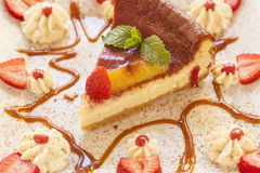 Cheesecake made with ricotta cheese and strawberries Stock Photography