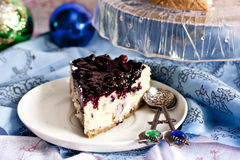 Cheesecake with mascarpone and blueberry sauce Stock Photos