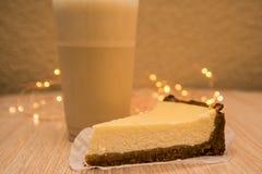 Cheesecake and milkshake stock photo