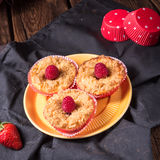 Cheesecake Muffins With Raspberry Royalty Free Stock Photos