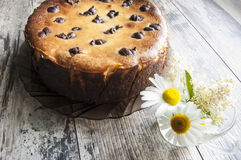 Cheesecake on an old table with a bouquet of camom Royalty Free Stock Images