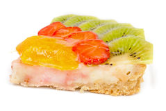 Cheesecake with orange, kiwi and strawberry Royalty Free Stock Images