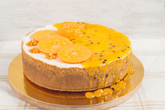 Cheesecake with passionfruit mousse Royalty Free Stock Image