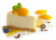 Cheesecake with peaches Royalty Free Stock Photo