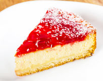 Cheesecake on a plate closeup Stock Images