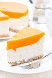Cheesecake with pumpkin jelly, vertical Royalty Free Stock Image