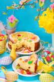 Cheesecake with raisins on easter table Stock Images