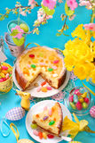 Cheesecake with raisins on easter table Stock Photography
