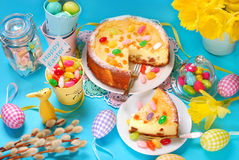 Cheesecake with raisins on easter table Royalty Free Stock Photography