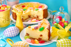 Cheesecake with raisins on easter table Royalty Free Stock Image