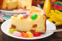 Cheesecake with raisins for easter on wooden table Royalty Free Stock Photography