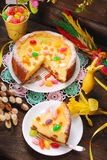 Cheesecake with raisins for easter on wooden table Royalty Free Stock Image