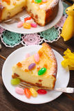 Cheesecake with raisins for easter on wooden table Royalty Free Stock Images