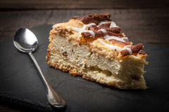 Cheesecake with raisins on a slate plate. Royalty Free Stock Photo