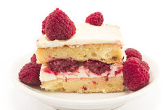Cheesecake with raspberries Stock Image