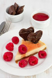 Cheesecake with raspberries, jam Royalty Free Stock Images