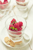 Cheesecake with raspberries, mint in glass  (toning) Stock Images