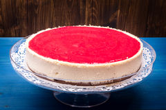 Cheesecake with raspberry topping Stock Photos