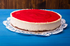 Cheesecake with raspberry topping Royalty Free Stock Photography