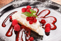 Cheesecake with red currant Royalty Free Stock Photos