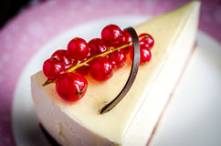 Cheesecake with redcurrant Stock Photos
