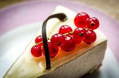 Cheesecake with redcurrant Stock Photography