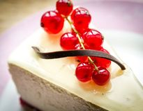 Cheesecake with redcurrant Royalty Free Stock Images