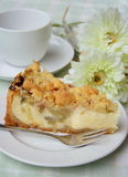 Cheesecake with rhabarber. Quark cake along with rhubarb in pieces on a white plate coffee cup. coffee hour stock image