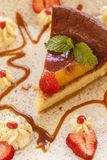 Cheesecake robić z ricotta truskawkami i serem Obraz Stock