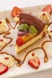 Cheesecake robić z ricotta truskawkami i serem zdjęcie stock