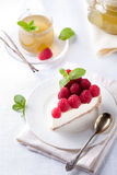 Cheesecake slice with fresh raspberry Stock Photo