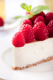 Cheesecake slice with fresh raspberry. And mint leaves Royalty Free Stock Photography